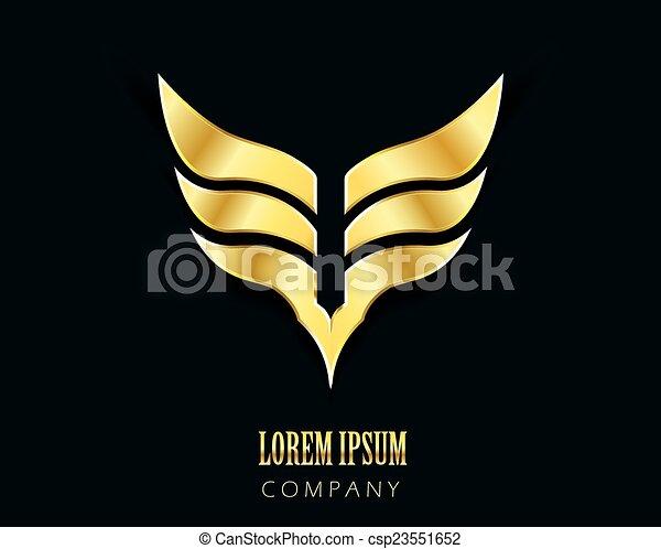vetorial, dourado, símbolo, gráfico, asas - csp23551652