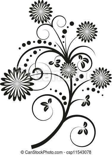 vetorial, elementos florais, desenho, ilustração - csp11543078