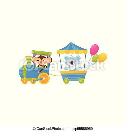 vetorial, engraçado, pequeno, koala, cartão postal, coloridos, apartamento, train., ou, aniversário, animals., livro, desenho, viajando, caráteres, impressão, caricatura, crianças, macaco - csp55586959