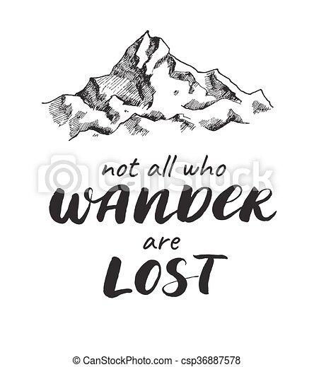 vetorial, esboço, desenho, handwrited, montanha, quote. - csp36887578