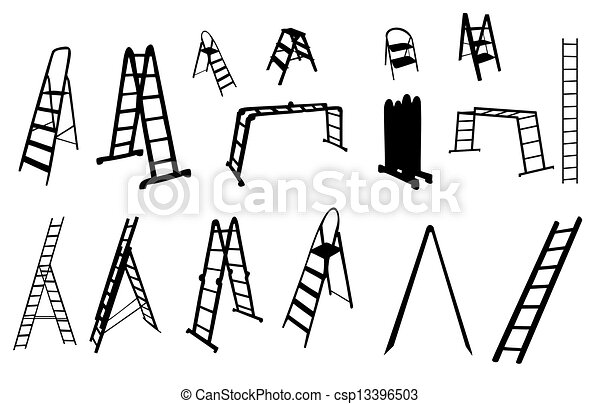 vetorial, escada, jogo, illustration., silhouette. - csp13396503