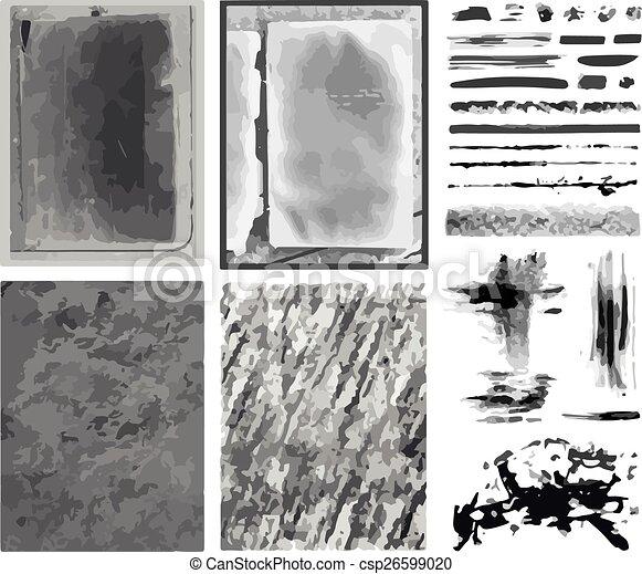 vetorial, escovas, linhas, texturas, & - csp26599020