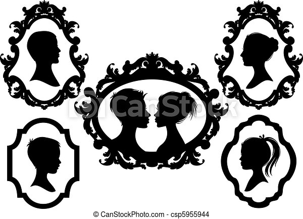 vetorial, família, quadros - csp5955944