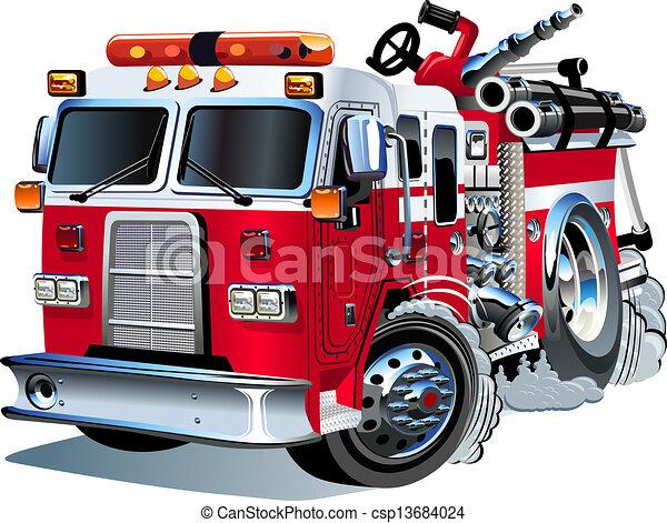 vetorial, firetruck, caricatura - csp13684024