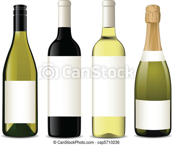 vetorial, garrafas, vinho - csp5710236