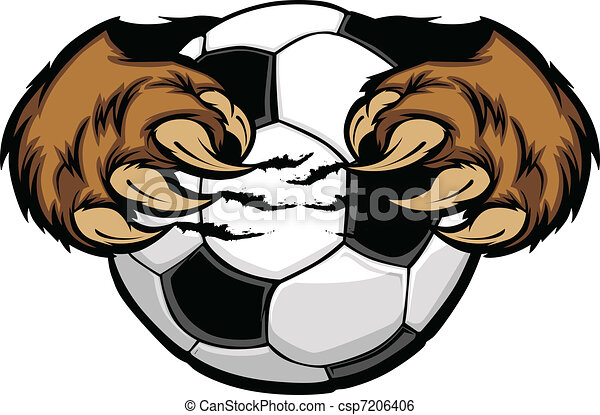 vetorial, garras, bola futebol, urso - csp7206406