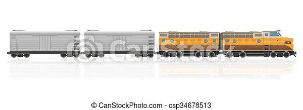 vetorial, ilustração, trem, vagões, estrada ferro, locomotiva - csp34678513
