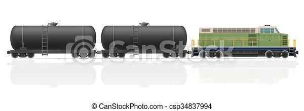 vetorial, ilustração, trem, vagões, estrada ferro, locomotiva - csp34837994