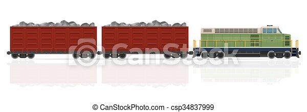 vetorial, ilustração, trem, vagões, estrada ferro, locomotiva - csp34837999