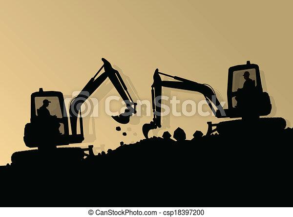 vetorial, industrial, cavando, escavador, trabalhadores, local, ilustração, carregador, máquina, construção, hidráulico, fundo, trator - csp18397200