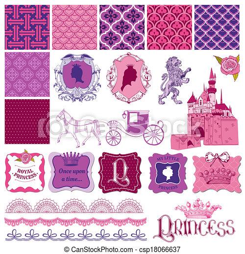 vetorial, jogo, -, aniversário, desenho, scrapbook, menina, princesa, elementos - csp18066637