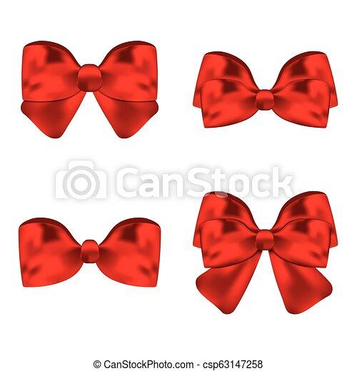 vetorial, jogo, illustration., presente, arcos, ribbons., vermelho - csp63147258