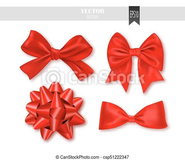 vetorial, jogo, illustration., presente, arcos, ribbons., vermelho - csp51222347