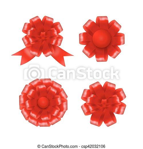 vetorial, jogo, presente, ilustração, arcos, ribbons., vermelho - csp42032106
