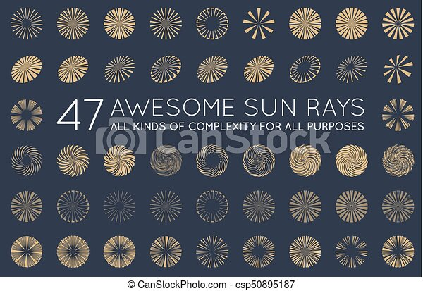 vetorial, jogo sol, sunburst, raios - csp50895187