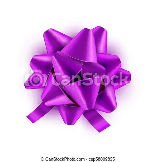 vetorial, lilás, presente, festivo, isolated., ilustração, arco, decoração, aniversário, verde, celebração, feriado, fita, card. - csp58009835