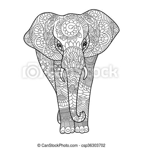 vetorial, livro, coloração, adultos, elefante - csp36303702