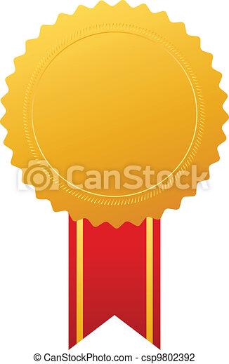 vetorial, medalha, ouro, distinção - csp9802392