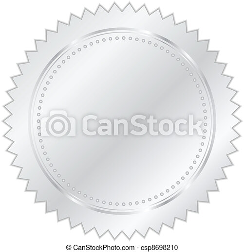 vetorial, prata, ilustração, selo - csp8698210