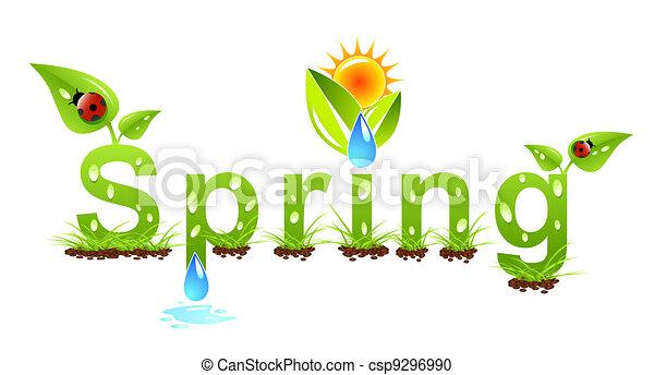 vetorial, primavera, conceito, palavra - csp9296990