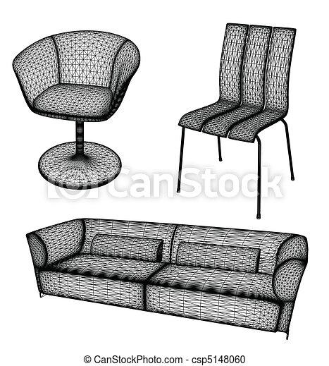 vetorial, projeto fixo, ilustração, mobília - csp5148060