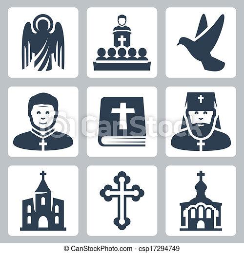 vetorial, religião, jogo, cristão, ícones - csp17294749
