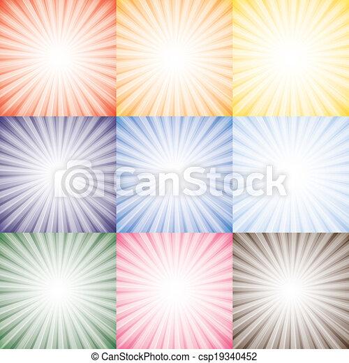 vetorial, representa, diferente, jogo, cor-de-rosa, coloridos, sol, sol, céu, cobrança, semelhante, laranja, cores, raios, contra, fundo, gráfico, amarela, seasons., vermelho, azul - csp19340452