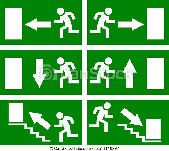 vetorial, saída, emergência, sinais - csp11110297