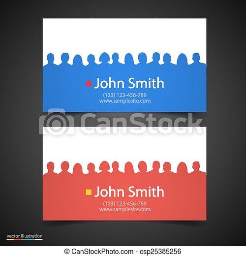 vetorial, silhouette., cartão, pessoas negócio - csp25385256