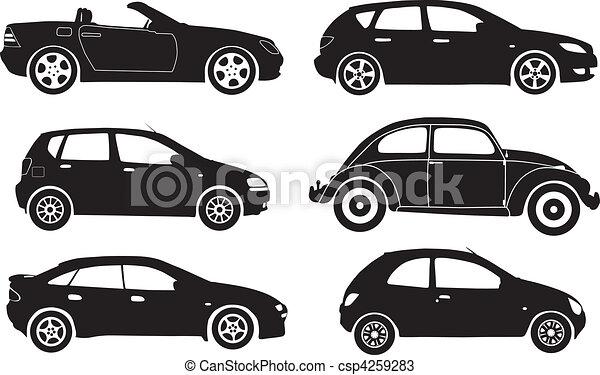 Vetorial Silueta Carros Ilustracao
