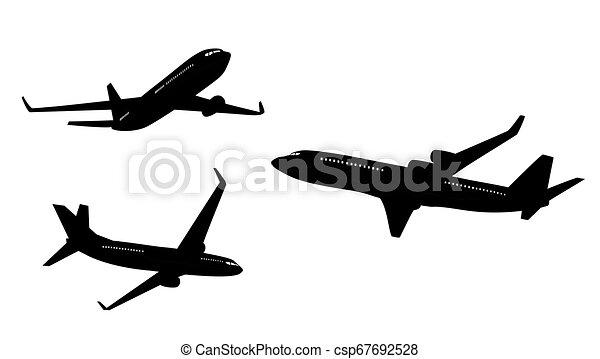 vetorial, silueta, isolado, jogo, branca, avião, cobrança, ilustração, apartamento, experiência. - csp67692528
