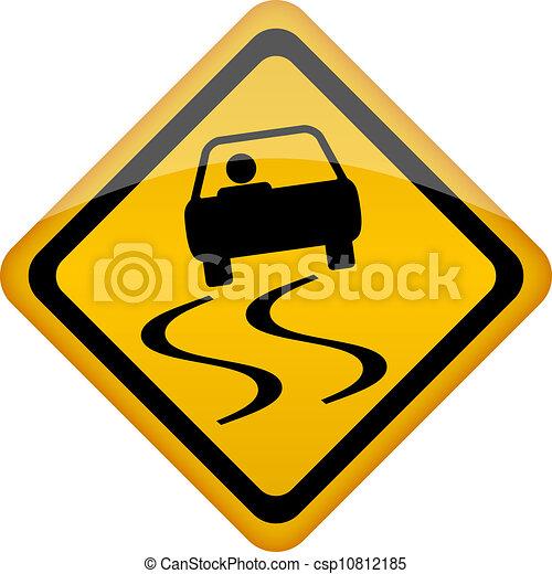 vetorial, sinal escorregadio estrada - csp10812185