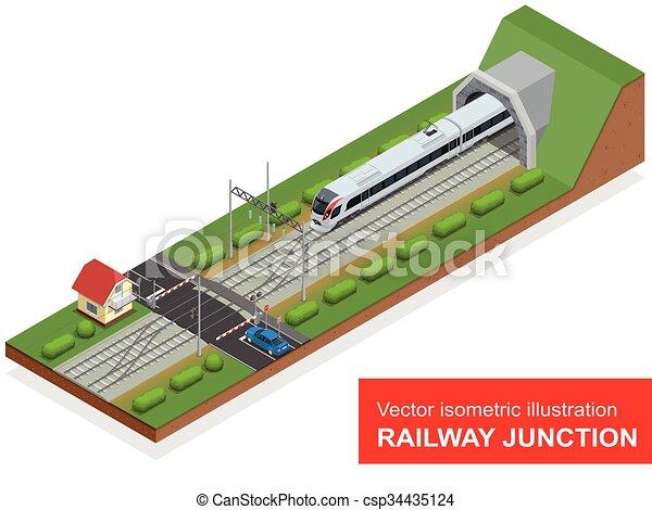 vetorial, túnel, isometric, elementos, junção, consist, trem, modernos, trilho, isolado, ilustração, alto, junction., cruzamento, frete, ferrovia, velocidade, estrada ferro - csp34435124