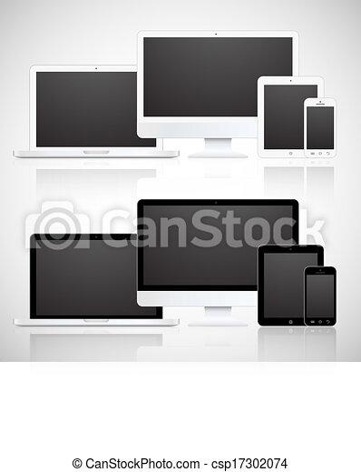 vetorial, telefone, tabuleta, monitor, laptop - csp17302074