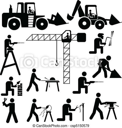 vetorial, trabalhando, ilustração, silhoue - csp5150579