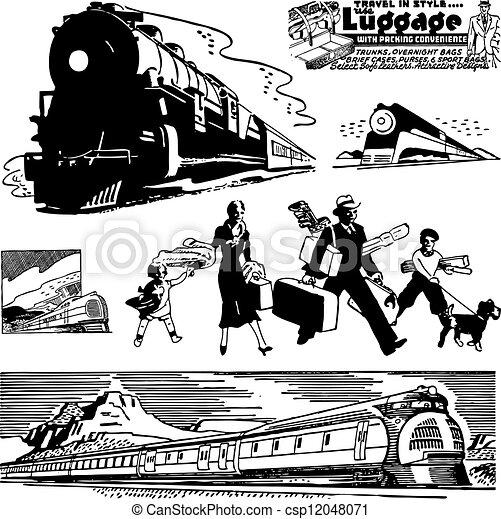 vetorial, trem, retro, gráficos - csp12048071