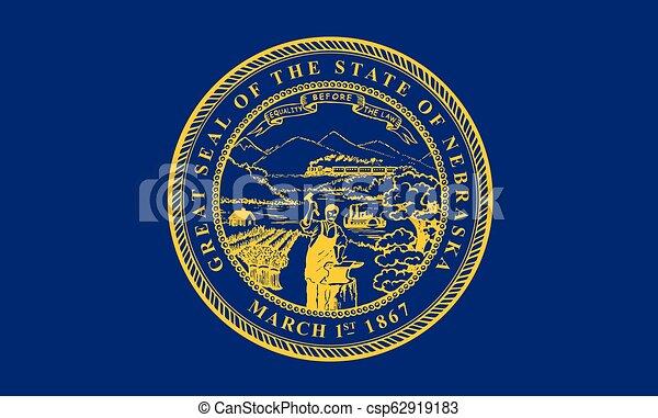 vetorial, unidas, illustration., flag., estados, america., nebraska - csp62919183