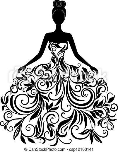 vetorial, vestido, mulher, silueta, jovem - csp12168141