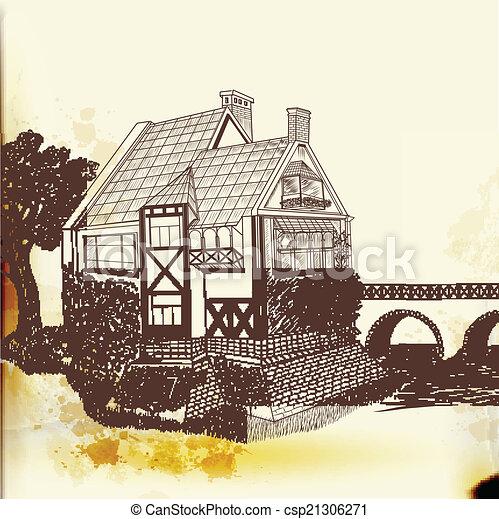 vetorial, vindima, mão, desenhado, casa - csp21306271