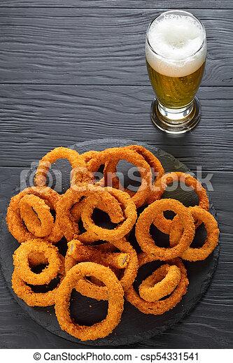 vetro, birra, anelli, cipolla, croccante - csp54331541