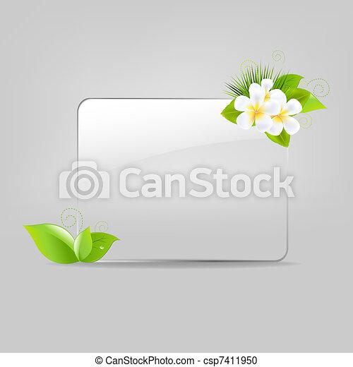 vetro, cornice, fiori, mette foglie - csp7411950