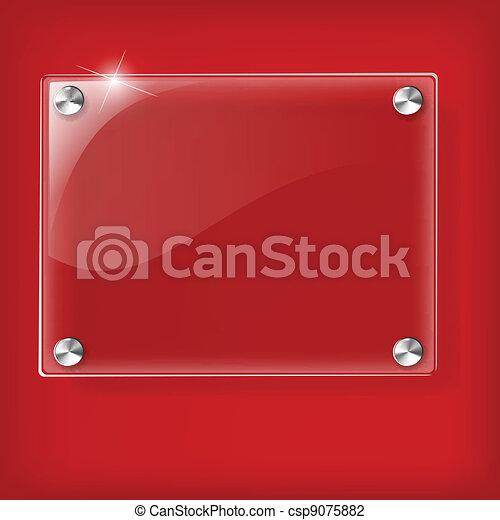 vetro, sfondo rosso, piastra - csp9075882
