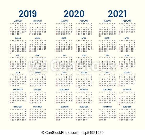 Calendario Anno 1980.Vettore 2019 2021 Anno 2020 Calendario