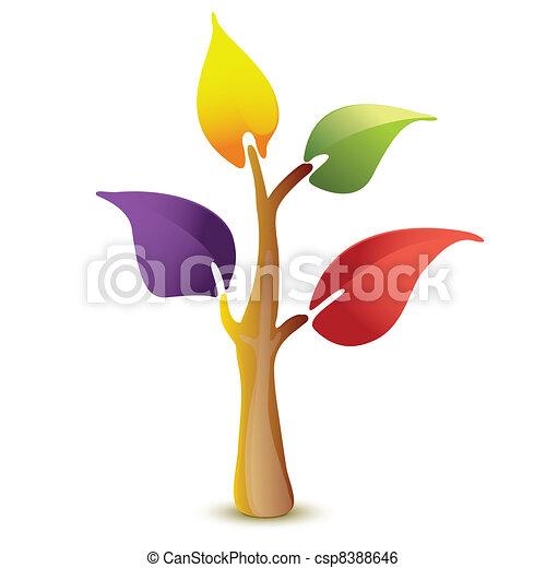 vettore, albero, colorito, icona - csp8388646