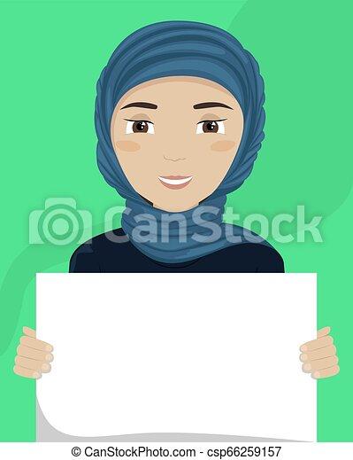 vettore, appartamento, diversity., cartellone, lei, illustrazione, donna, hijab, razziale, hands. - csp66259157