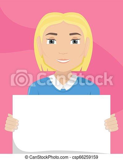 vettore, appartamento, diversity., cartellone, lei, illustrazione, donna, bianco, razziale, hands. - csp66259159