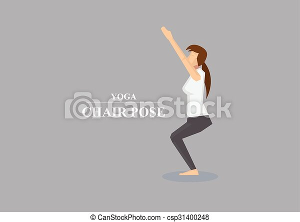 vettore, asana, atteggiarsi, sedia, yoga, illustrazione - csp31400248