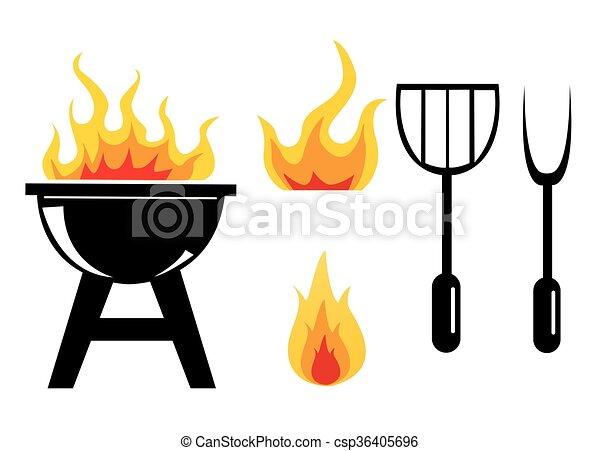 vettore, barbecue, set, nero, icona - csp36405696