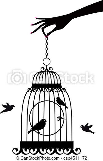 vettore, birdcage, mano - csp4511172