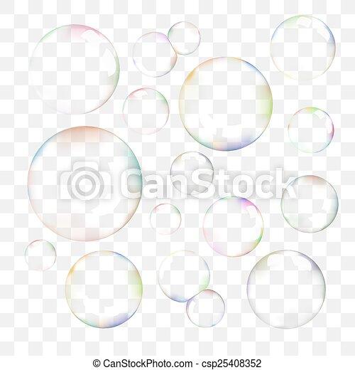 vettore, bolle, set, sapone, trasparente - csp25408352
